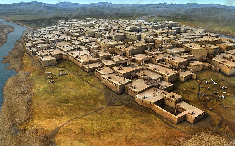 """Desain Interior dan Eksterior Rumah Peninggalan Masa Neolithik  """"Chatal Huyuk"""" Turki"""